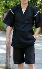 Japanese JINBEI Men's Summer Kimono wear Topps Half Pants JAPAN Black Size:XL