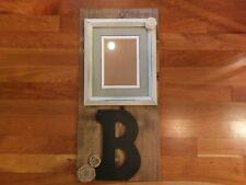 Rustic Wood Photo Frame Wall Hang Sign Letter B Initial Monogram Burlap Rose Vtg