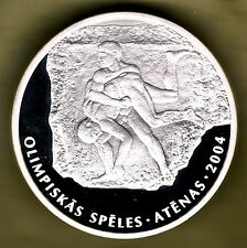 LATVIA - 1 LATS 2002 PROOF KM# 57, OLYMPIC GAMES ATHENS, GREECE 2004 - WRESTLING