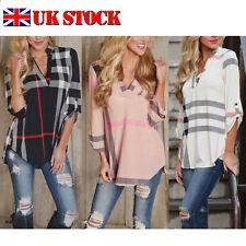 Womens Fashion Plaid Loose V neck Shirt Autumn Top Blouse Long Sleeve T-Shirt