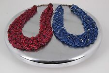 Fushia Wide Beaded Style Necklaces Set 0741B One Blue Strand Of Clear Stones One