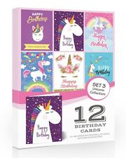 12 X Unicorn Birthday Cards Childrens Value Pack With Envelopes