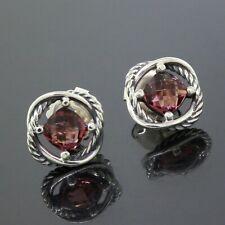 David Yurman 925 Sterling Silver 7MM Pink Tourmaline Infinity Stud Earrings