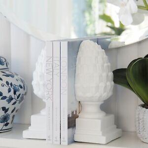Acorn Decorative White Resin Bookends 2-piece Hamptons Coastal Home Decor