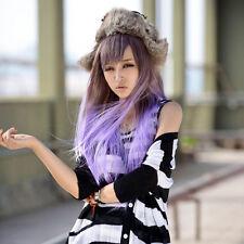 Hot Long Straight Full Bangs Hair Lolita Cosplay Party Purple Brown Gradient Wig