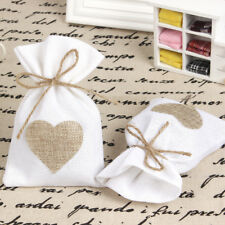 50pcs Jute Candy Bag Jewlery Sack Pouch Wedding Party Favor Gift Bag with Heart