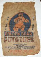 Rare Vtg Golden Bear Potatoes Burlap Bag - Bakers Golden Bear Potato Sack 100Lbs