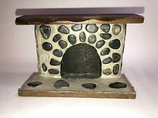 Vintage Dollhouse Miniature Stone Fireplace w/ Wood Hearth Mantle made in Taiwan