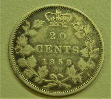 1858 Canada Silver 20 Cents Coin Nice Condition!