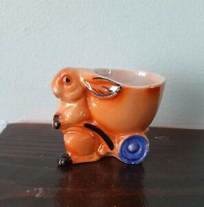 Vintage Lustre Ware Old Easter Egg Cup Holder Rabbit Bunny Pulling A Cart 1930s