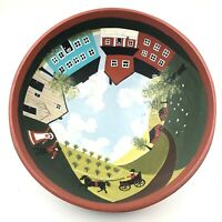 """Hand Painted Folk Art Wood Bowl Amish Country 9.5""""W X 4""""H"""