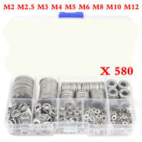580xCar Stainless Steel Flat Washers Kit For M2 M2.5 M3 M4 M5 M6 M8 M10 M12 Bolt