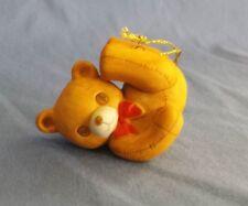 Vtg 1982 Schmid Christmas Ornament Teddy Bear Stitching Red Bow Porcelain