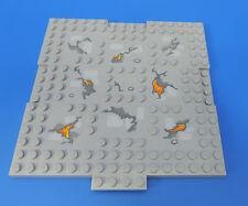 LEGO® Nr- 6135195 / 16x16 Bauplatte / hellgraue Platte mit Feuer / Stein Optik