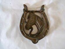 Cast Iron Vintage HORSE HEAD Door Knocker Rustic Western Cowboy HORSESHOE