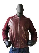 Men's Burgundy Baseball Varsity Bomber Jacket Leather Suede Sleeves Size 2XL