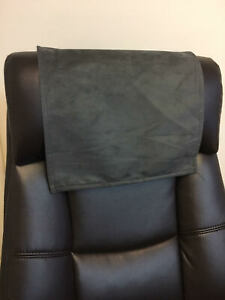 Recliner Head Rest Cover Suede faux Charcoal grey 14x30 Sofa Love seat Chaise