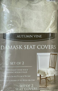Damask Seat Covers - Set of 2 Country Kitchen Rustic Autumn Vine Ivory