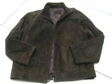 Mens M&S brown leather suede COAT JACKET size Large 41 42 43 biker bomber XL