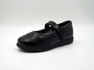 Girl's black leather hook and loop school shoes size 1 to 13