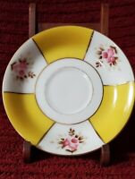 Made in Occupied Japan Ucagco China Demitasse Saucer Gold Trim Yellow Vintage