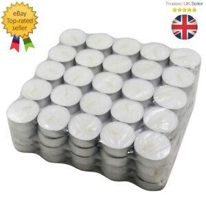 100 Pack Tea Lights Long Hour Burn Night Light Candles Unscented Tealights  UK
