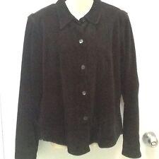 Liz Claiborne Women 100% Leather Suede Shirt Jacket Coat SZ M Black