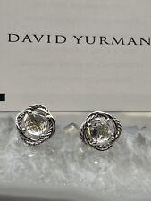David Yurman Infinity Stud Earrings with White Topaz 7mm