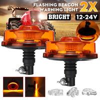 2X 12/24v Lampeggiante LED Ambra Faro Luce Strobo Muletto Camion Trattore