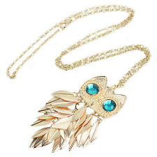 Women Gold Leaves Owl Charm Necklace Pendant Long Sweater Chain Jewelry 70cm HOT