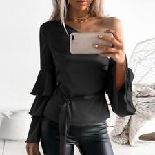 Fashion Women Autumn One Shoulder Long Lotus Sleeve Shirt Loose Lady Tops Blouse