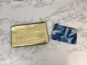 Estee Lauder Cosmetic Travel Makeup Bag Case Zippered Pouch Lot of 2 Gold Blue R
