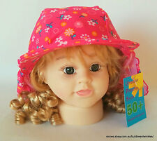 LYCRA CAP / HAT BEACH SUN Girls Child Pink w/ Flower Design NEW 54cm NWT UPF 50+