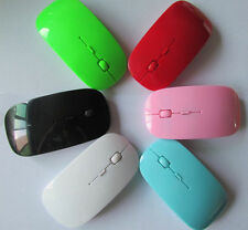 Red 2.4GHz Ultra-Slim Mini USB Wireless Optical Mouse Silver For Laptop