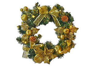 Pre Lit 40cm Luxury Gold Christmas Door Wreath Garland With Warm White Lights