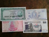 WORLD PAPER MONEY 1961 MOCAMBIQUE 100 ESCUDOS + 3 *BANK NOTES* Collectibles