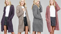 Women's Long Open Front Cable Chunky Knit Cardigan Marbled Sweater w/ Pockets