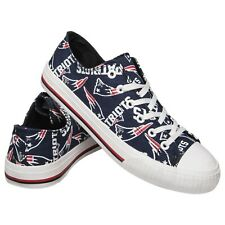 New England Patriots NFL Women's Low Top Repeat Print Canvas Shoes FREE SHIP