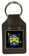 Day Family Crest Surname Coat Of Arms Brown Leather Keyring Engraved