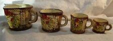 VINTAGE Hand Painted TILSO Rooster Chicken Measuring Ceramic Cups Set of 4 Japan