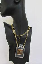 New Women Gold Chain Fashion Necklace Clear Plastic Perfume Bottle No 5 Pendant