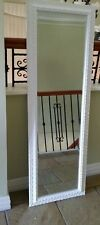 Long white wall mirror ornate bevelled mirror 50 x 150 cm new