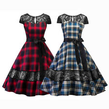 50s 60s Retro Hepburn Style Plaid Check Swing Rockabilly Housewife Pinup Dresses