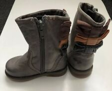 Next Little Girls 3 Bows Grey Leather Boots Size 3
