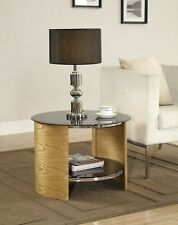 JF303  OAK/BLACK GLASS ROUND LAMP TABLE