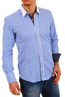 Camicia Uomo Maniche Lunghe BAXMEN A647 Azzurro Tg S