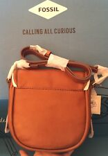 FOSSIL SADDLE BROWN LEATHER RUMI SMALL CROSSBODY PURSE BAG New w/ tags
