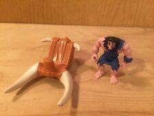 Htf wood & bone Saddle Imaginext Slasher Allosaurus dinosaur w/ Caveman Figure