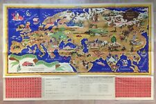EUROPE ASIA by JANNOT (JAN-LOUP) 1956 ANTIQUE LARGE PICTURIAL MAP