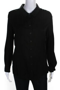 Elie Tahari Womens Silk Long Sleeve Button Up Blouse Top Black Size M